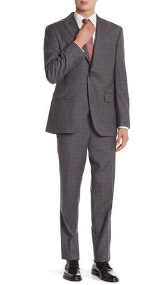 David Donahue Grey/Brown Plaid Two Button Notch Lapel Classic Fit Suit