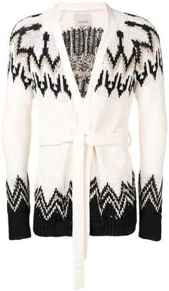 Laneus white belted cardigan