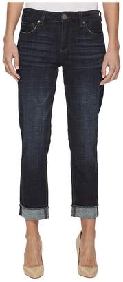 KUT from the Kloth Amy Crop Straight Leg-Roll Up Frey Jeans in Acknowledging/Euro Base Wash Women's Jeans