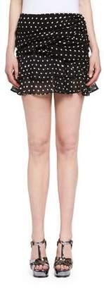Saint Laurent Ruffled Polka Dot Miniskirt