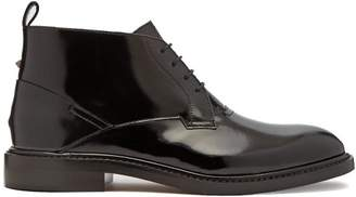 Valentino Patent Leather Desert Boots - Mens - Black