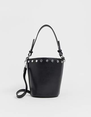 Pieces studded bucket bag