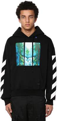 Off-White Off White Waterfall Print Cotton Jersey Hoodie