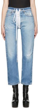 Off-White Blue Levi's Edition Zipped Jeans $535 thestylecure.com