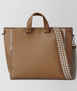 Bottega Veneta CAMEL/CEMENT CALF INTRECCIATO CHECKER TOTE