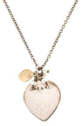 Me & Ro Me&Ro Two-Tone Pearl Heart Pendant Necklace