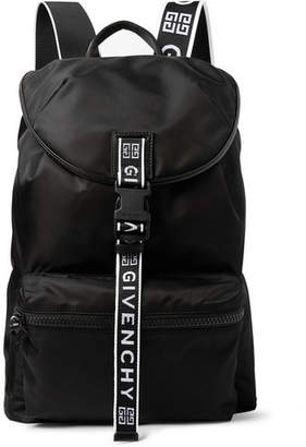 Givenchy Logo-Jacquard and Leather-Trimmed Nylon Backpack - Men - Black