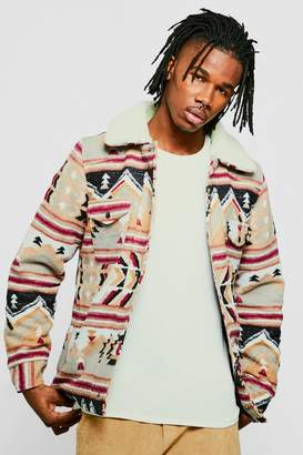 boohoo Wool Blend Navajo Trucker Jacket With Borg Collar