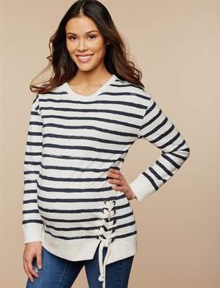 Motherhood Maternity Striped Lace Up Maternity Sweatshirt