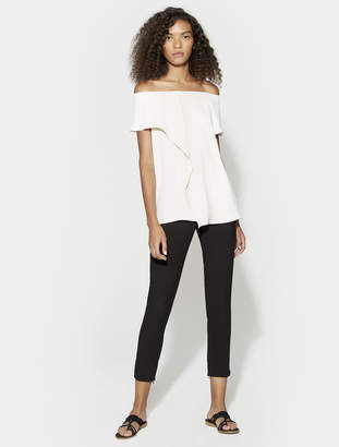 Halston Off Shoulder Flounce Drape Top