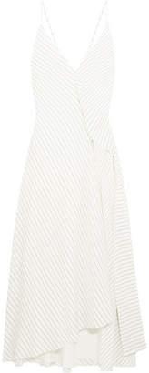 Victoria Beckham - Asymmetric Striped Silk Crepe De Chine Midi Dress - White