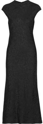 Satin-jacquard Midi Dress - Black