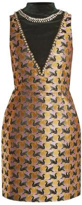 Mary Katrantzou Verdi Swan Jacquard Mini Dress - Womens - Gold Multi