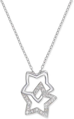 Macy's Diamond Double Star Pendant Necklace (1/10 ct. t.w.) in Sterling Silver