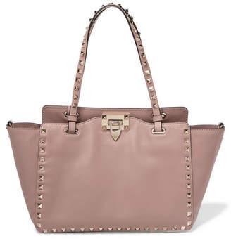 Valentino Garavani The Rockstud Leather Trapeze Bag - Blush