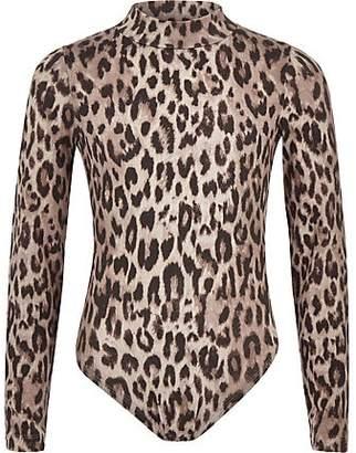 River Island Girls grey leopard print bodysuit