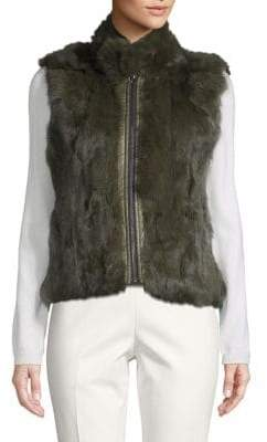 Adrienne Landau Reversible Dyed Rabbit Fur Quilted Vest