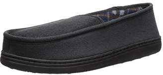Perry Ellis Men's Microsuede Slipper with Plaid Fleece Lining