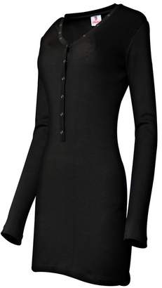 SkylineWears Women Henley Neck Button Placket Long Sleeve Fashion Casual Mini Dress XL