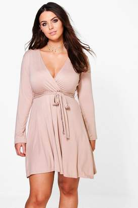 boohoo Plus Melanie Wrap Tie Skater Dress $26 thestylecure.com