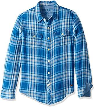 True Grit Men's Vintage Indigo Plaid and Check Long Sleeve Two Pocket Shirt