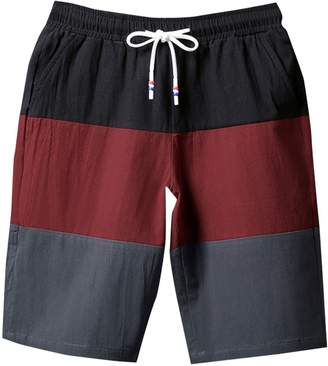 Trunks LETSQK Men's Stripe Swim Cotton Quick Dry Casual Surfing Board Short L