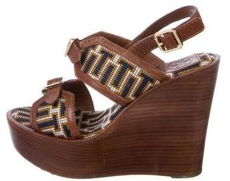 Tory Burch Leather Round-Toe Wedges