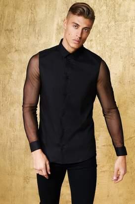boohoo Long Sleeve Muscle Fit Shirt With Sheer Sleeve