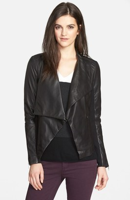 Trouvé Drape Collar Leather Jacket $328 thestylecure.com