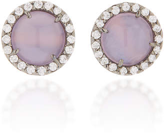 Kimberly McDonald One-Of-A-Kind Chalcedony Studs With Diamonds Set In 18K White Gold With Black Rhodium