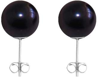 ORA Pearls - Medium Black Pearl Stud Earrings Sterling Silver