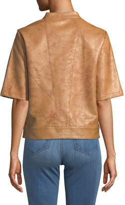 BCBGeneration Short-Sleeve Faux-Leather Topper Jacket