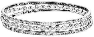 Sterling Set of Three Crystal Eternity Bangles