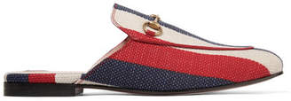Gucci Princetown Horsebit-detailed Striped Canvas Slippers - Red