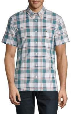 Lacoste Slim-Fit Plaid Button-Down Shirt