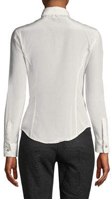 Leon Max Satin Button-Front Blouse