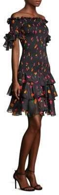 Caroline Constas Kennie Off-The-Shoulder Silk Dress
