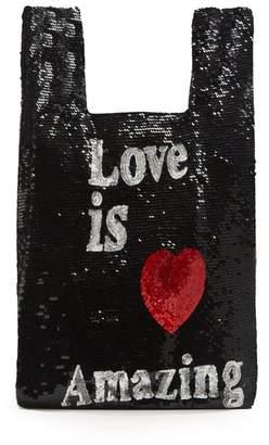 Ashish Love Is Amazing Sequin Embellished Bag - Womens - Black Multi