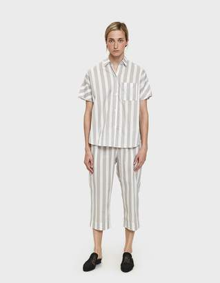 Maison Du Soir Capri Sleep Pant in Grey Stripe