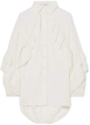 Givenchy Pleated Ruffled Silk-blend Georgette Blouse - White