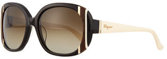 Salvatore Ferragamo Universal Fit Striped Butterfly Sunglasses, Black/Ivory $326 thestylecure.com