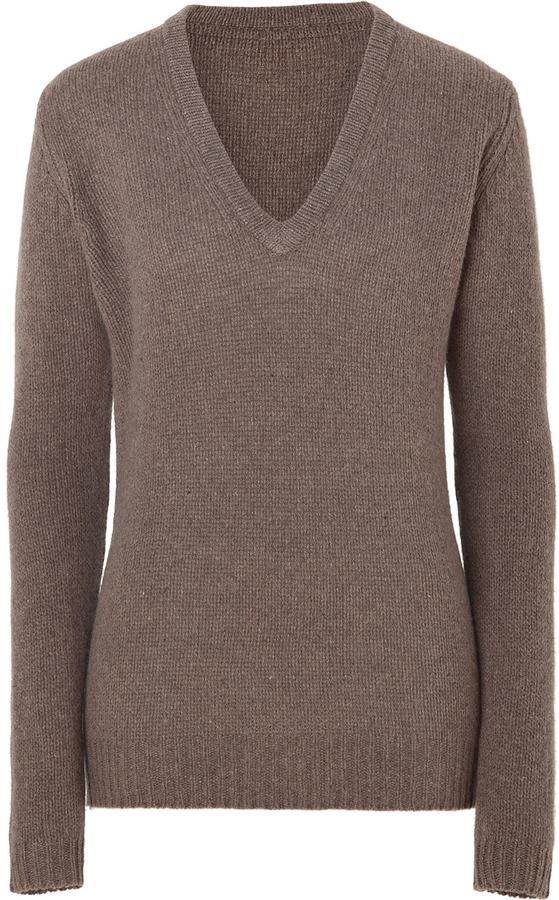 American Vintage Taupe Wool-Cashmere V-Neck Pullover