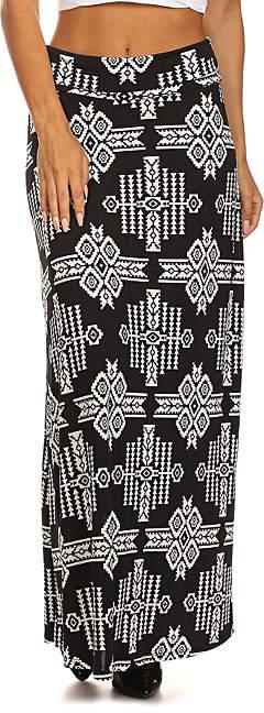 Black & White Geometric Diamond Maxi Skirt - Women