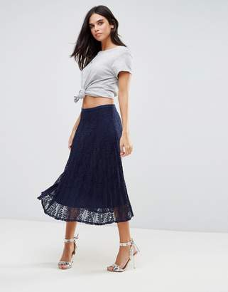 Liquorish Pleated Lace Midi Skirt
