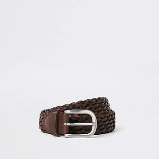 River Island Mens Brown leather silver tone woven buckle belt