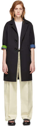 Comme des Garcons Black Wool Gabardine and Poplin Coat