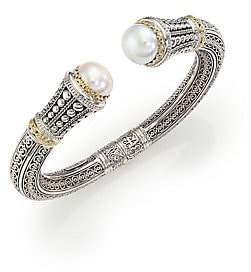 Konstantino Women's Classic 10MM White Mabe Pearl, 18K Yellow Gold & Sterling Silver Cuff Bracelet