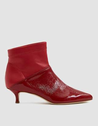 Tibi Jena Ankle Boot in Textured Red Patent
