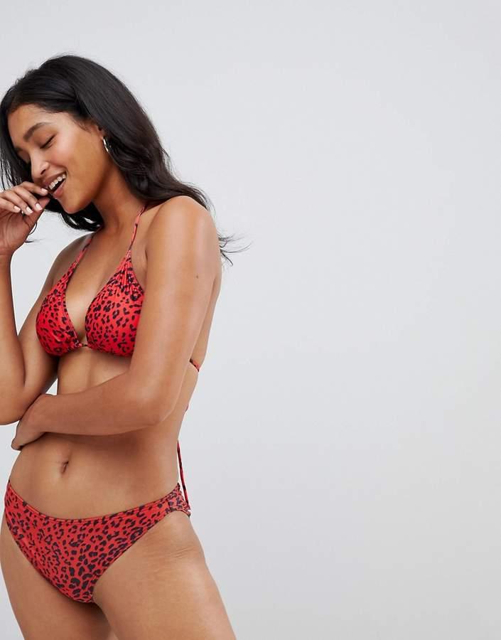 red leopard print bikini bottom