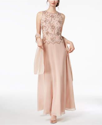 J Kara Sleeveless Beaded Gown & Evening Scarf